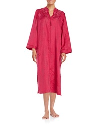 Miss Elaine Floral Patterned Zip Front Robe Ruby