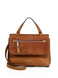 Marc Jacobs Waverly Small Leather And Suede Top Handle Satchel Maple Tan Black