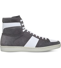 Saint Laurent Sl 10H High Top Suede Trainers Grey