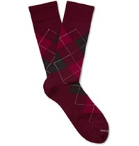 Marcoliani Argyle Merino Wool Blend Socks Burgundy