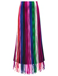Barbara Casasola Multi Fringed Silk Long Skirt