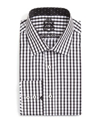 English Laundry Large Gingham Check Dress Shirt Black