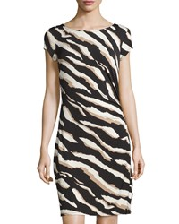 Laundry By Shelli Segal Zebra Print Short Sleeve Sheath Dress Khaki Black