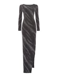 Jessica Wright Longsleeve Cowl Back Metallic Dress Black Glitter
