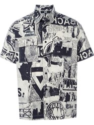 Ktz Newspaper Print Shortsleeved Shirt Black