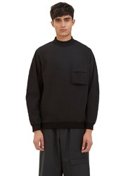 Oamc Flight Quilted Sleeve Mock Neck Sweater Black