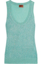 Missoni Metallic Crochet Knit Tank Turquoise