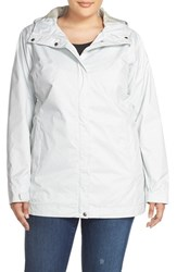Plus Size Women's Columbia 'Splash A Little' Modern Classic Fit Waterproof Rain Jacket Sea Salt Lace Print