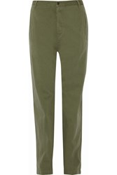 Etoile Isabel Marant Wona Cotton And Linen Blend Tapered Pants Green