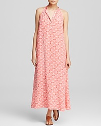 Moon And Meadow Printed Maxi Dress Coral White