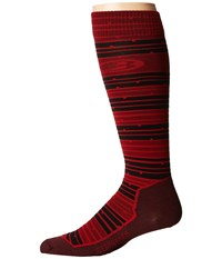 Icebreaker Ski Ultra Light Over The Calf Toothstripe Oxblood Black Rocket Men's Crew Cut Socks Shoes Burgundy