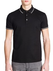 Emporio Armani Short Sleeve Pique Polo Shirt Black
