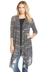 Junior Women's Painted Threads Stripe Open Front Cardigan Black