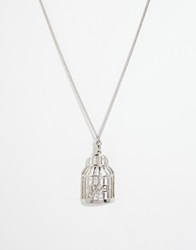 And Mary Necklace With Birdcage And Swallow Charm Silverplate