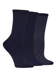Hot Sox Printed Three Pack Trouser Socks Navy