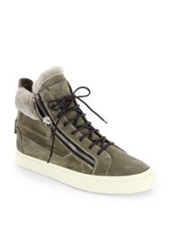 Giuseppe Zanotti Suede And Shearling High Top Sneakers Olive Green