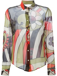 Red Valentino Flower Print Sheer Shirt Green