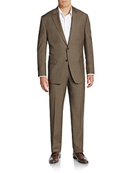 Lauren Ralph Lauren Regular Fit Sharkskin Wool Suit Brown