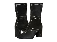 Just Cavalli Studded Suede Leather Bootie Black