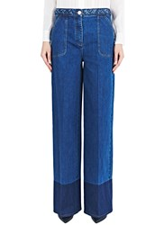 Valentino Wide Leg Braid Jeans Blue