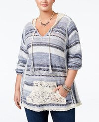 American Rag Trendy Plus Size Southwestern Hoodie Sweater Only At Macy's Indigo Combo