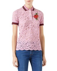 Gucci Short Sleeve Lace Polo With Flower Patch Rose