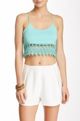 Honey Punch Lace Trim Crop Tank Green