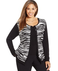 August Silk Plus Size Zebra Print Jacquard Cardigan