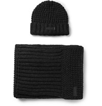 Belstaff Ardleigh Waffle Knit Hat And Scarf Set Black