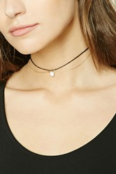Forever 21 Circle Charm Layered Choker Gold Black
