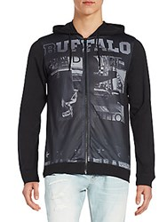 Buffalo David Bitton Printed Mesh Front Jersey Hoodie Black