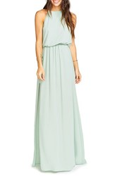 Show Me Your Mumu Women's 'Heather' Chiffon Halter Gown Dusty Mint