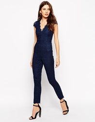 Lipsy Lace Scallop Jumpsuit Navy