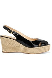 Paloma Barcelo Rojo Patent Leather Wedge Sandals Black