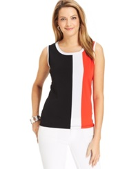 Jones New York Collection Sleeveless Colorblock Shell Top Black Multi