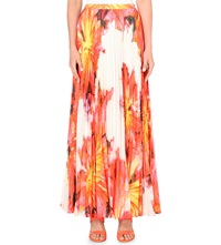 Karen Millen Floral Print Pleated Maxi Skirt Multi Coloured