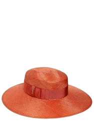 Borsalino Wide Brim Straw Hat With Grosgrain Band Orange