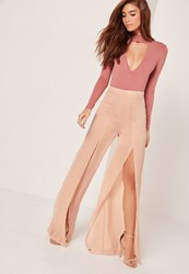 Missguided Wide Leg Satin Split Trousers Blush Pink Chartreuse