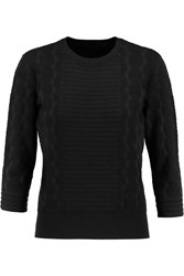 Marc By Marc Jacobs Lucinda Jacquard Knit Cotton Blend Sweater Black