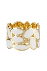 Ariella Collection Oval Enamel Band White