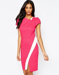 Paper Dolls Asymmetric Wrap Dress With Contrast Detail Coral