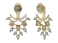 Alexis Bittar Custom Cabochon Articulated Lace Back Post W Spiked Crystal Accents Earrings Gold Ruthenium Earring