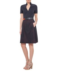 Akris Punto Short Sleeve A Line Combo Dress Navy
