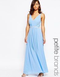 Jarlo Petite V Neck Maxi In Chiffon With Embellished Waist Blue