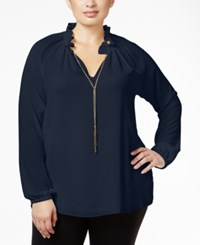 Michael Kors Plus Size Ruffle Neck Necklace Blouse New Navy