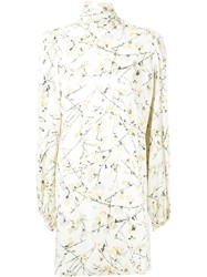 Alexander Mcqueen Floral Print Mini Dress White