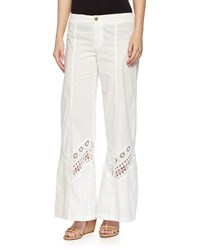 Xcvi Lakewood Lace Inset Wide Leg Pants White