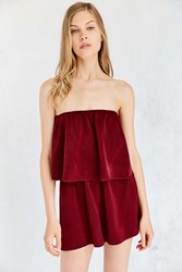 Silence And Noise Strapless Satin Twofer Romper Maroon