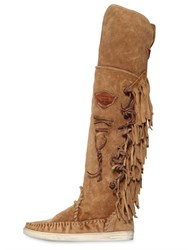 El Vaquero 20Mm Fringed Suede Over The Knee Boots