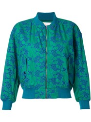 Mikio Sakabe Floral Embroidered Bomber Jacket Green